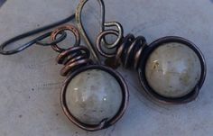 Copper Earrings Creamy White Antiqued Copper Jewelry by gcuff, $19.00