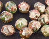 Lovely earthy colours - JUST LISTED - 0071-WSZ 8mm Potato green brown picasso Czech glass beads 25pc by roubogi on Etsy, 4.00 EUR