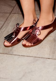 Leather Shoe Sandals   Plum Metallic   & Other Stories