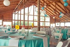 Tiffany blue and white wedding with yellow flowers