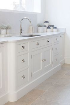 Timeless shaker kitchen painted in our bespoke colour Orchid with Silestone Lagoon work surfaces. Timeless shaker kitchen painted in our bespoke colour Orchid with Silestone Lagoon work surfaces. New Kitchen Cabinets, Kitchen Paint, Home Decor Kitchen, Kitchen Flooring, Country Kitchen, Kitchen Interior, Home Kitchens, Aga Kitchen, Modern Shaker Kitchen