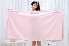 Magic Multi Sexy Women Lady Travel Body Wrap Absorbent Microfiber Shower Bath Drying Terry Towel Spa Bikini Cover Up Beach Skirt Dress Bathrobe Robe (Pink)