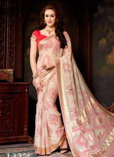 Dazzling Cream And Pink Printed Designer Border Work  Saree http://www.angelnx.com/featuredproduct