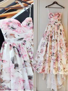 Gorgeous Sweetheart Flowers Print Ruffles Bridal Gown/ Wedding Dress