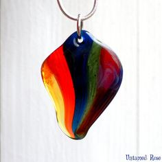 Glass Rainbow Necklace Lampwork Blown Jewelry Pride by UntamedRose, $28.00