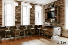 Brooklyn-based interior designer Jen Chu and her boyfriend recently built out this reclaimed wood bar