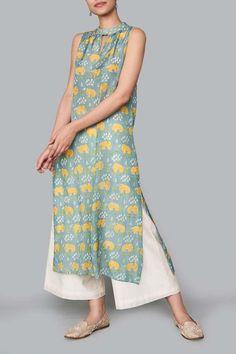 Ladies Kurta - Buy Marvi Kurta for Women Online - Blue - Anita Dongre Simple Kurti Designs, Kurta Designs Women, Dress Indian Style, Indian Wear, Dress Neck Designs, Blouse Designs, Indian Wedding Outfits, Indian Outfits, Anita Dongre