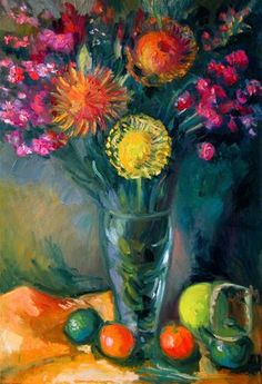 """Daily Paintworks - """"Protea with Pomelo"""" - Original Fine Art for Sale - © Carol Steinberg"""