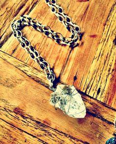 Handmade Crystal quartz chunk necklace