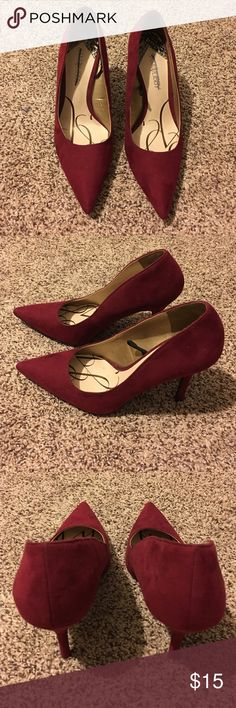 New Sam & Libby Red Faux Suede Sz 9 sexy dressy These are new and lovely! Sam & Libby for Target Wine Red Pumps with a 3.5 inch heel! Size 9. Perfect for the holidays!!! Vegan friendly faux suede! Sam & Libby Shoes Heels