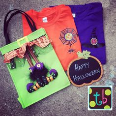Monogram Personalized Halloween Spider Witch tee by Tootlebugs on Etsy