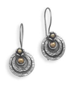 Tri Tone Circle Design Earrings