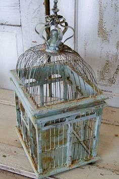Distressed metal wooden bird cage light blues seafoam colors shabby chic beachy home decor Anita Spero from AnitaSperoDesign on Etsy.