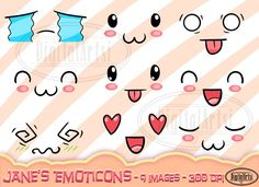 Kawaii Emoticon Clipart by DigitalArtsi on Kawaii Faces, Kawaii Cute, Biscuit, Emoticon Faces, Logo Tv, Doodle Characters, Wedding Props, 12 Image, Planner Supplies