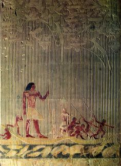 Ti watching a hippopotamus hunt, relief in the mastaba of Ti, Saqqara, Egypt, Dynasty V ca. 2450-2350