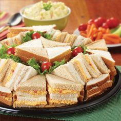 $25 - serves 20-25 - Salad Party Finger Sandwich Tray (pimento cheese, chicken salad, and tuna salad)