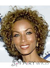 Up-to-date Short Curly Brown African American Lace Wigs for Women 12 Inch