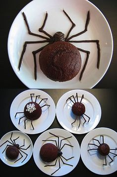 Spider cakes- Basically, fill Chocolate cupcakes with Whip Cream(Silk),Rasberry Coulee,(Guts),Mini Chips(Grossness) on the backs,Chocolate piped to form legs.