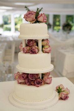 wedding cakes with pillars retro - Google Search