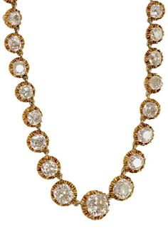 French Victorian Cushion Cut Diamond Necklace. 27.50 cttw KL/VS-SI Cushion cut diamonds set in a vintage 18kt yellow gold mounting. French, circa 1880.