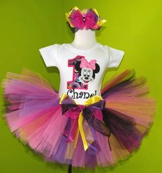 #MC Diva Pink n Black Yellow Minnie Mouse Birthday Tutu Outfit by PoshBabyStore.com