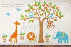 Children Wall Decal Wall Sticker -Safari Tree Wall Decal - dd1040. $179.00, via Etsy.