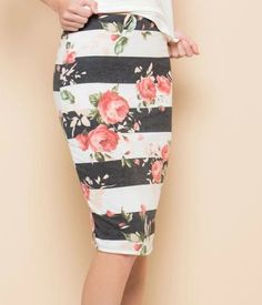 Bright and bold stripes mixed with pretty flowers, this P. Skirt is sure to grab their attention. Stretch pencil skirt style is very versatile and feels great on. Stretch Pencil Skirt, Secret Sale, Bold Stripes, Feeling Great, Pretty Flowers, Skirt Fashion, Phoenix, Feels, Bright