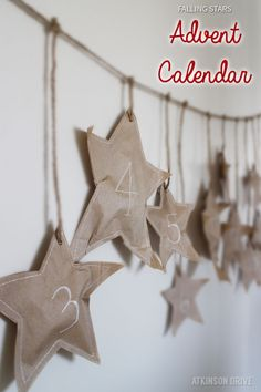 Add some cheer to your holiday decor with this fun falling stars paper bag advent calendar project! /// by Atkinson Drive