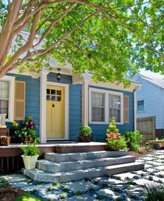 30 Front Door Ideas and Paint Colors for Exterior Wood Door Decoration or Home Staging-like the blue and yellow comb