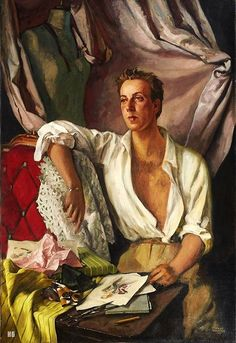 Serge Ivanoff. Russian. (1893-1983). - Portrait of the Couturier Jacques Fath. oil /canvas.