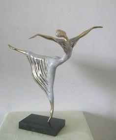 Bronze Small / Little Abstract Contemporary Sculptures / Statues #sculpture by #sculptor Liubka Kirilova titled: 'Ballet-Dancer' #art