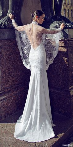 nurit hen 2016 bridal strapless sweetheart lace sheath wedding dress (15) illusion cape bv
