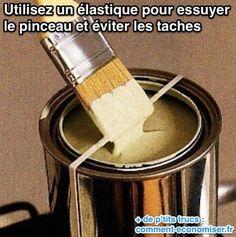 Tout ce dont vous avez besoin pour peindre sans faire de taches sur le sol, c'est d'un élastique autour du pot ! Regardez :-)  Découvrez l'astuce ici : http://www.comment-economiser.fr/ne-pas-salir-pot-peinture-quand-on-peint.html