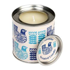 Jasmine Scented Candle in a Folk Birds Tin