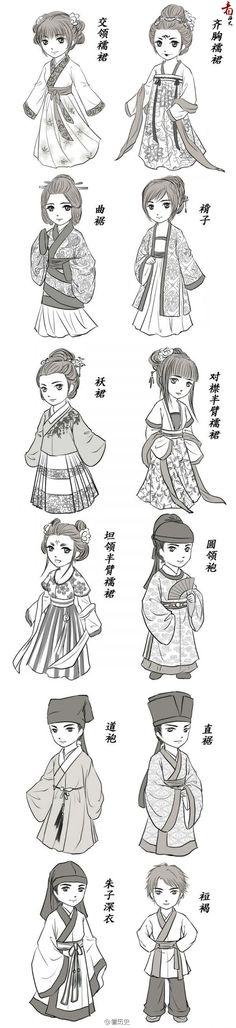 some hanfu styles … - Historical Clothing Historical Costume, Historical Clothing, Traditional Fashion, Traditional Dresses, Chinese Style, Chinese Art, Kawaii, Chibi, Clothing Sketches