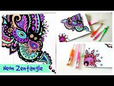 zentangle drawing neon zendoodle drawings