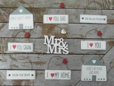 NEW VINTAGE STYLE SMALL WOODEN SIGNS - I LOVE , HOME SWEET HOME , MR & MRS