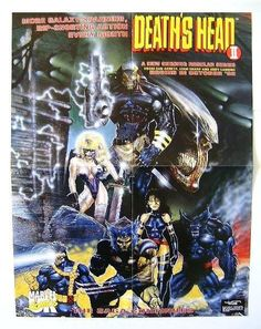 1992 X-Men poster! Vintage Marvel Comics 22 x 17 inch Death's Head ll promotional comic book promo poster 1: Wolveine,Psylocke,Cyclops,Beast