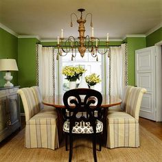 Green is gorgeous... Love this room