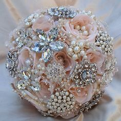 ELEGANT CUSTOM PALE PINK BLUSH PETAL BROOCH BOUQUET - $499.00 Deposit - $299.00 Balance - $200.00 (Paid when order is 100% completed THIS IS A LARGER BOUQUET @ 9.5 Size (Compare to others at only 7-8). Beautiful Custom Design in Soft Blush Pink Color Scheme filled with quality