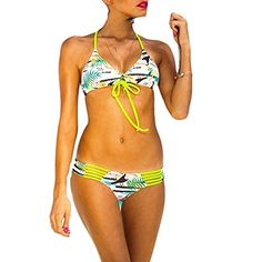 DELEY Femme Rétro Floral Impression Halterneck Brésilien Triangle Bikini Maillot De Bain: Amazon.fr: Vêtements et accessoires