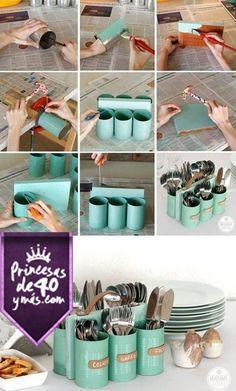 Esta idea esta perfecta para tener los cubiertos ordenados y siempre con un súper estilo. #DIY #QueBonitoEsLoBonito #ConEstilo #PrincesasDe40