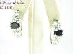 """Estate 3/4""""L Sterling Silver 925 Black Onyx Hoop Pierced Earrings #R #Hoop"""