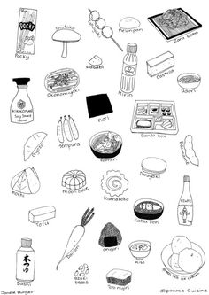 Simple illustration of Japanese food with names. Japanese Culture, Japanese Food, Japanese Art, Japon Illustration, Cute Illustration, Food Doodles, Food Sketch, Art Watercolor, Thinking Day