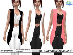The vest as accessory and to find it in the bracelet section.  Found in TSR Category 'Sims 4 Female Bracelets'