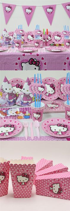 [Visit to Buy] 151pcs\lot Birthday Party Decoration Napkins Hello Kitty Kids Favors Tablecloth Paper Plates Cups Baby Shower Banners Supplies #Advertisement