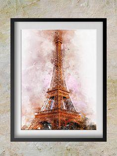 Eiffel Tower Paris Watercolor Print  Eiffel Tower Art  wall