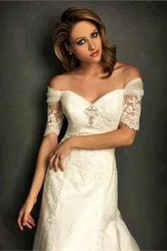 half sleeve wedding dresses lace | Home  Wedding Dresses Half/ Elbow Sleeve Off-the-shoulder Satin Lace ...