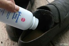 Quiet squeaking shoes with baby powder.