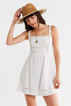 Slide View: 1: UO Straight-Neck Lace Mini Dress